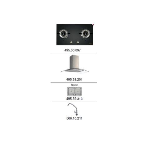 HAFELE ชุดเซ็ทเครื่องดูดควัน+เตา+อ่างล้างจาน+ก๊อก 495.07.082