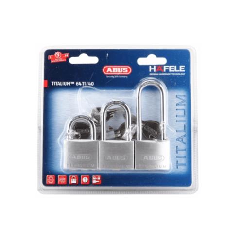 HAFELE กุญแจล็อคมาสเตอร์คีย์ (3 ตัว/แพ็ค) สายยาว 40 มม. และ 63 มม. 482.01.840 สเตนเลส