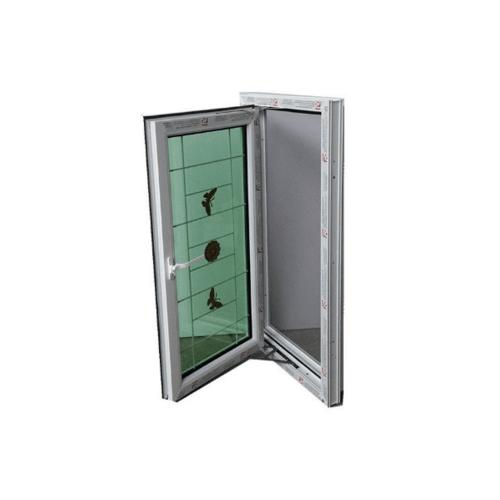 RKT หน้าต่างบานเปิดกระจก 2  ชั้นพร้อมเหล็กดัด  ขนาด 70*120  cm  สีขาว