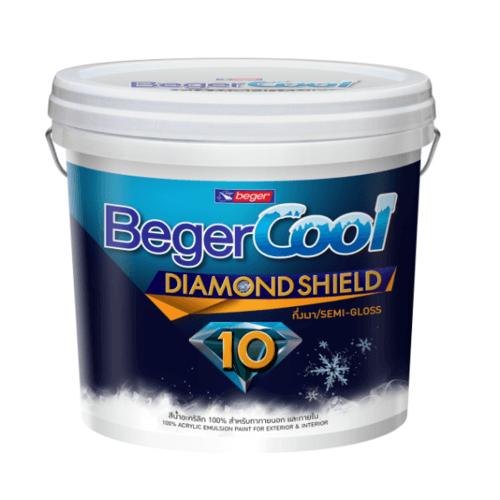 Beger สีน้ำอะครีลิคเบเยอร์คูล ไดมอนด์ชิลด์ 10 ปี ชนิดกึ่งเงา เบส A ถัง สีขาว