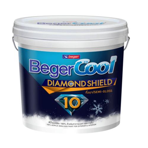 Beger สีน้ำอะครีลิคเบเยอร์คูล ไดมอนด์ชิลด์ 10 ปี ชนิดกึ่งเงา เบส B ถัง สีขาว
