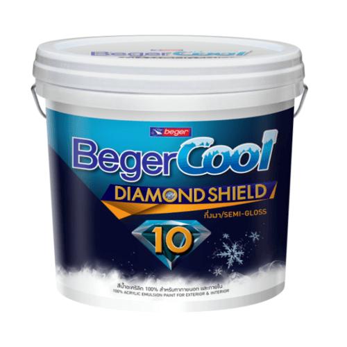 Beger สีน้ำอะครีลิคเบเยอร์คูล ไดมอนด์ชิลด์ 10 ปี ชนิดกึ่งเงา เบส C ถัง สีขาว