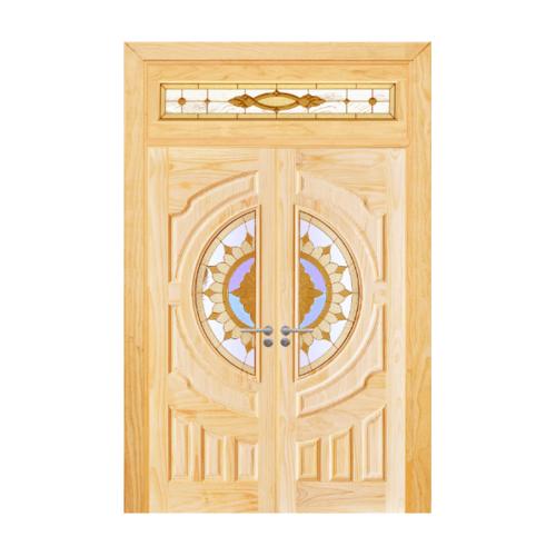 D2D ประตูไม้สนนิวซีแลนด์ลูกฟักพร้อมกระจก ขนาด 80 x 200 cm. SET 4 D2D-417