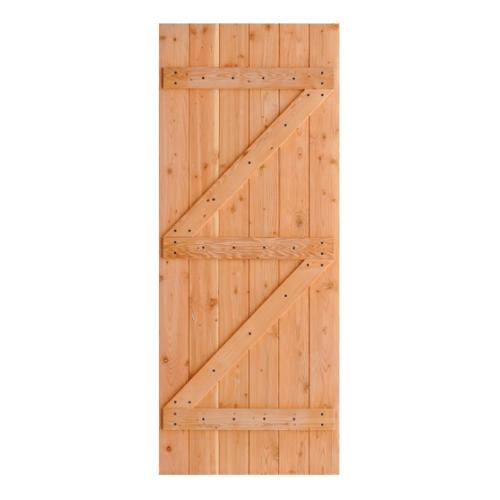 D2D  ประตูไม้ดักลาสเฟอร์ บานทึบทำร่อง 110x200ซม.  ECO PINE-99