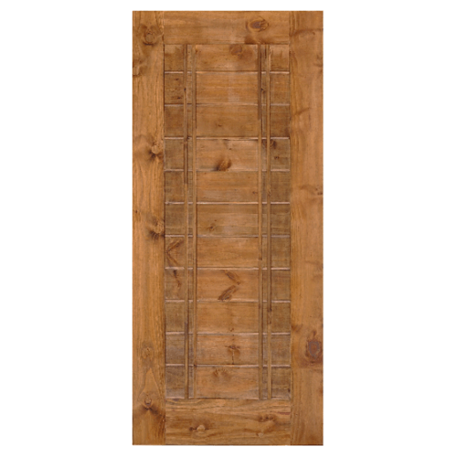 D2D  ประตูไม้สนNz บานทึบทำร่อง  80x180ซม. Eco Pine-Ezero 6 สีเชสนัท