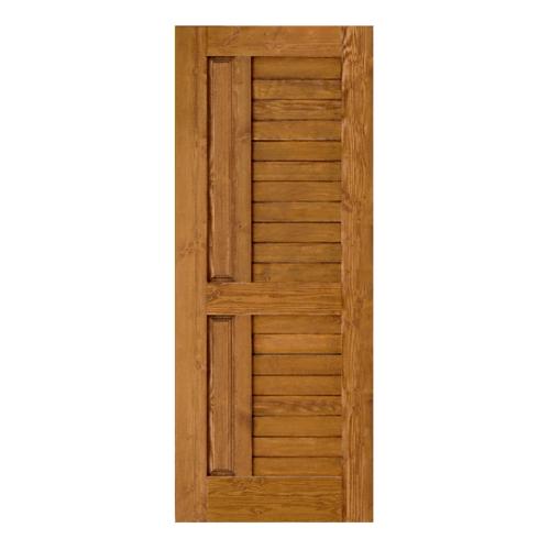 D2D ประตูไม้ดักลาสเฟอร์ บานทึบทำร่อง 80 x 200cm.  Eco Ezero-007 สีเชสนัท