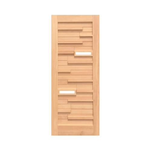 D2D ประตูไม้ดักลาสเฟอร์ ทำร่องพร้อมกระจก ขนาด 90x205cm.   Eco Pine-034Plus