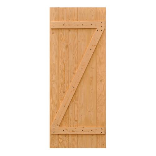 D2D ประตูไม้ดักลาสเฟอร์ บานทึบเซาะร่อง  100x240cm.  Eco Pine - 55