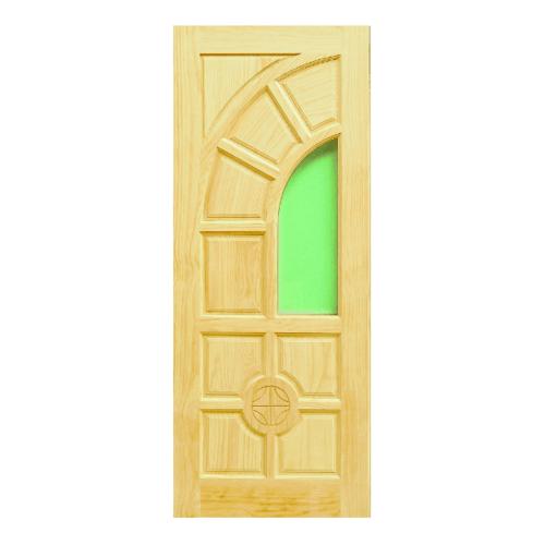 D2D ประตูไม้สนนิวซีแลนด์ แกะลายพร้อมกระจก ขนาด 100x235cm. D2D-405