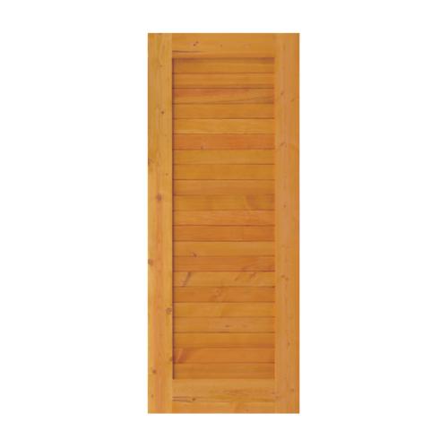 D2D ประตูไม้ดักลาสเฟอร์ บานทึบทำร่อง  90x200 ซม. Eco Ezero-3 สีโกล์ดโทน