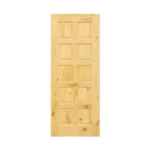 D2D ประตูไม้สนNz บานทึบ 10ลูกฟัก ขนาด 90x200ซม. Eco Pine-003