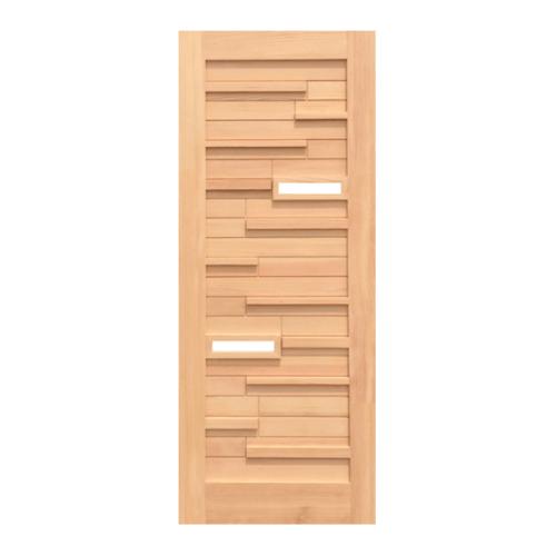 D2D ประตูไม้ดักลาสเฟอร์ ทำร่องพร้อมกระจก ขนาด 90x210cm.   Eco Pine-034Plus
