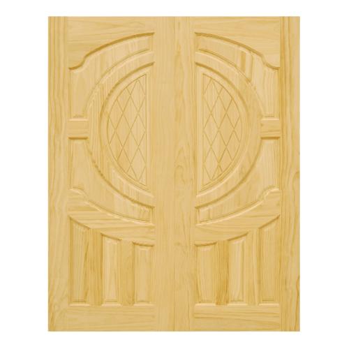 D2D ประตูบานคู่ไม้สนนิวซีแลนด์บานทึบทำร่อง ขนาด 90x200cm.  D2D-304