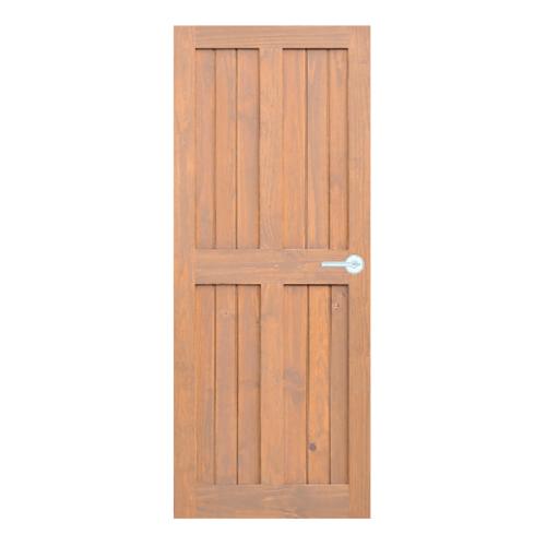D2D ประตูไม้สนนิวซีแลนด์ บานทึบทำร่องสีเบรินแอช ขนาด 90x200cm.  Eco Pine -44 สีเบรินแอช