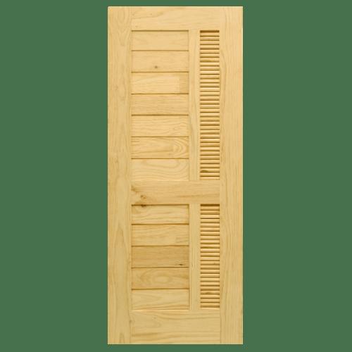 D2D ประตูไม้สน Nz ทำร่องพร้อมเกล็ดระบายอากาศ ขนาด 80x180ซม. Eco Pine-019 ไม้ธรรมชาติ