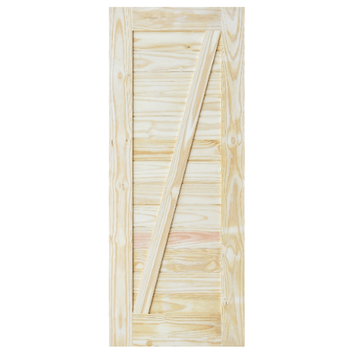D2D ประตูไม้สนNz บานทีบเซาะร่อง(โรงนา) ขนาด 80x180ซม. Eco Pine-333 ไม้ธรรมชาติ
