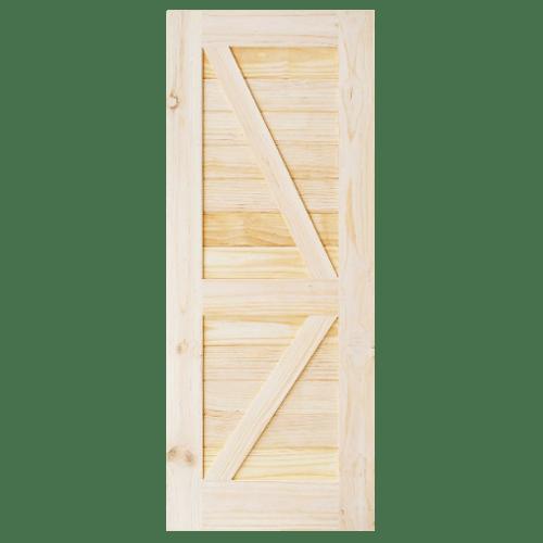 D2D ประตูไม้สนNz บานทึบเซาะร่อง(โรงนา) ขนาด 80x180ซม. Eco Pine-444 ไม้ธรรมชาติ