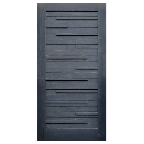D2D ประตูไม้ดักลาสเฟอร์ บานทึบทำร่อง ขนาด  90x200ซม. Eco Pine-030 สีแบล็คแอช