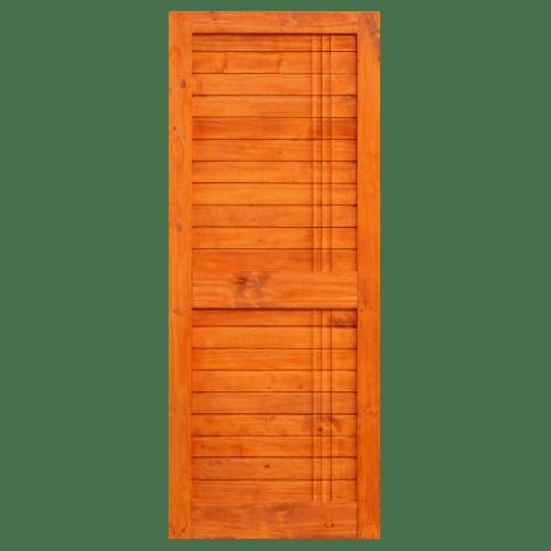D2D ประตูไม้สนนิวซีแลนด์ บานทึบเซาะร่อง  ขนาด 100x200ซม.  Eco Pine-Ezero 27 สีเบรินเรด