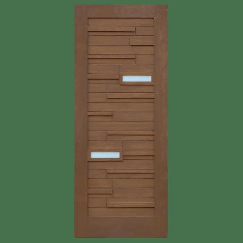 D2D ประตูไม้ดักลาสเฟอร์ ทำร่องพร้อมกระจก ขนาด 80x200ซม.  Eco Pine-034Plus สีเบรินแอช ไม่ระบุสี
