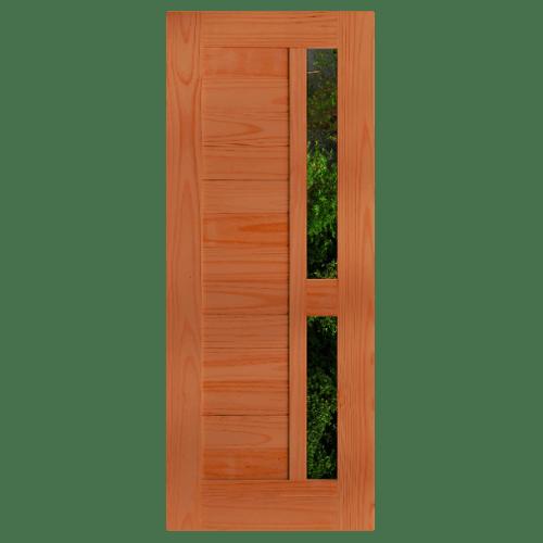 D2D ประตูไม้สนนิวซีแลนด์ ทำร่องพร้อมช่องกระจก ขนาด 90x220 ซม. D2D-408 สีเบรินแอช