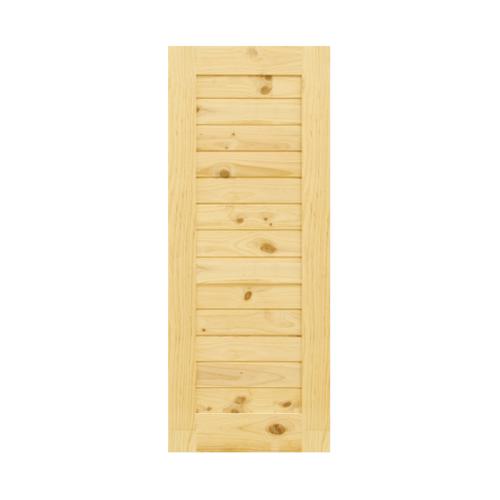 D2D ประตูไม้สนนิวซีแลนด์ บานทึบทำร่อง ขนาด 70  x 215cm. Eco Pine-001