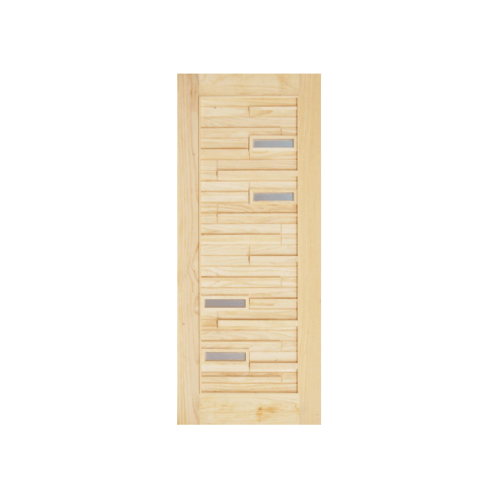 D2D ประตูไม้สนNz ทำร่องพร้อมช่องกระจก 60 x 200cm. D2D-501 Plus