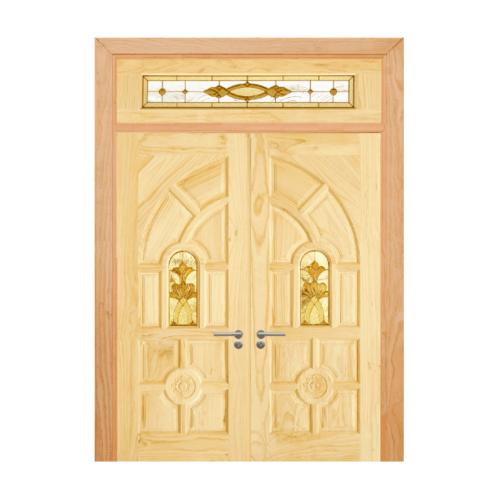 D2D ประตูไม้สนนิวซีแลนด์ ลูกฟักพร้อมกระจก ขนาด 80x200cm. SET 4 D2D-416