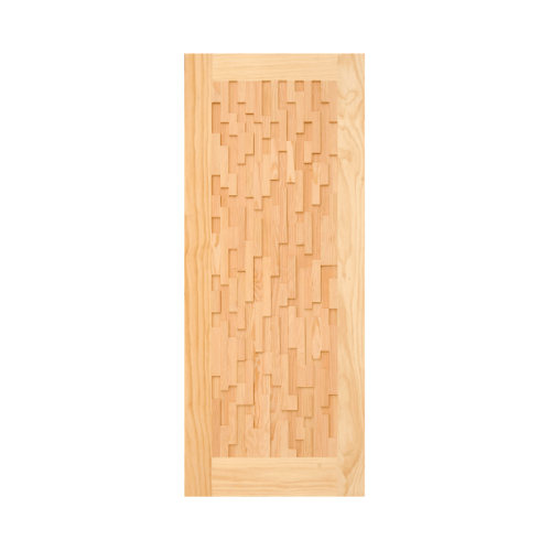 D2D ประตูไม้สนนิวซีแลนด์ บานทึบทำร่อง 90x200cm. D2D-505