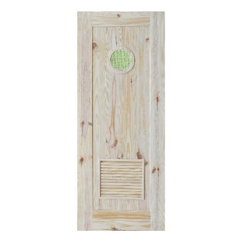 D2D ประตูไม้สนนิวซีแลนด์ เกล็ดระบายพร้อมกระจก ขนาด  90x200cm.  Eco Pine-33