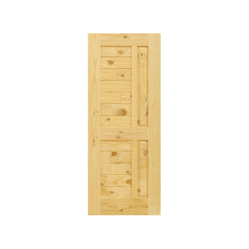 D2D ประตูไม้สนนิวซีแลนด์ บานทึบทำร่อง 90x220cm. Eco Pine-007