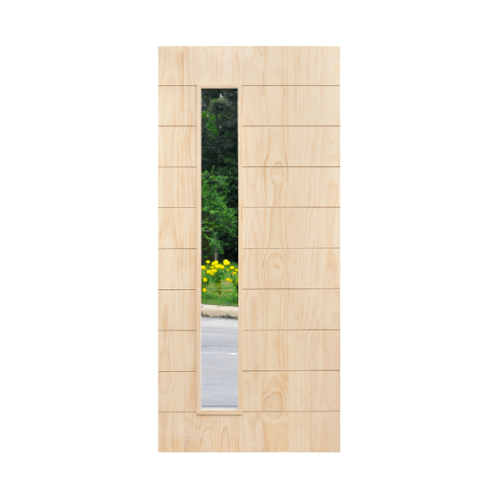 D2D ประตูไม้สนNz ทำร่องพร้อมช่องกระจก ขนาด90 x 220 cm. D2D-407