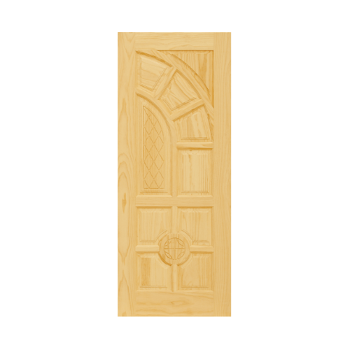 D2D ประตูไม้สนNz บานทึบลูกฟักแกะลาย ขนาด 89x210cm.   D2D-305