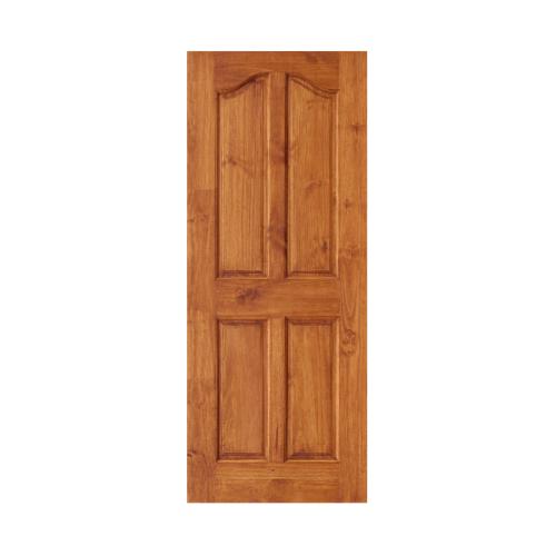 D2D ประตูไม้สนนิวซีแลนด์ บานทึบ 4ฟักปีกนก ขนาด  80x200cm. สีเชสนัท  Eco Ezero-9