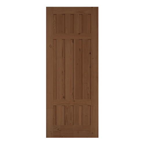 D2D ประตูไม้ดักลาสเฟอร์ บานทึบทำร่อง ขนาด 80x200cm.  Eco Pine-027 สีเบรินแอช