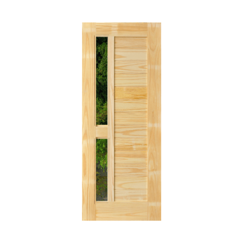 D2D ประตูไม้สนNz ทำร่องพร้อมช่องกระจก ขนาด 90x200cm.   D2D-408