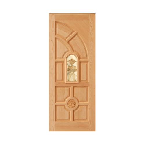 D2D ประตูไม้ดักลาสเฟอร์ ลูกฟักพร้อมกระจก 90x200cm. D2D-416