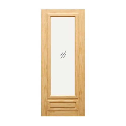 D2D ประตูไม้สนนิวซีแลนด์  ลูกฟักพร้อมกระจกแผ่นเดียว ขนาด 90x220cm.  D2D-601