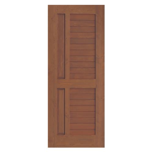 D2D ประตูไม้ดักลาสเฟอร์ บานทึบลูกฟักทำร่อง 80x200cm. Eco Pine-007 สีเบรินแอช