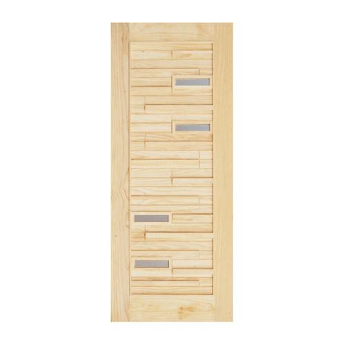 D2D ประตูไม้สนNz ทำร่องพร้อมช่องกระจก  80x220cm 501 Plus