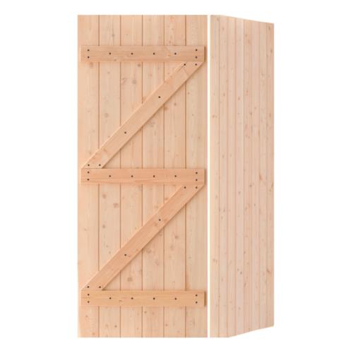 D2D ประตูไม้ดักลาสเฟอร์ บานทึบทำร่อง ขนาด 90x200cm. Eco Pine-99
