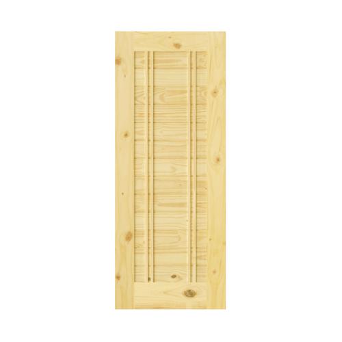 D2D ประตูไม้สนNz บานทึบทำร่อง ขนาด90x215cm.   Eco Pine-Ezero 6