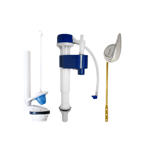 DONMARK ชุดอุปกรณ์หม้อน้ำสุขภัณฑ์ครบชุด คันชัก แบบปัดหน้า SN-107 ขาว