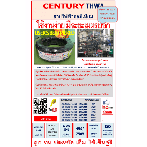 CENTURY สายไฟฟ้าอลูมิเนียม 50 เมตร THW-A 25 SQ.MM. 50M. สีดำ