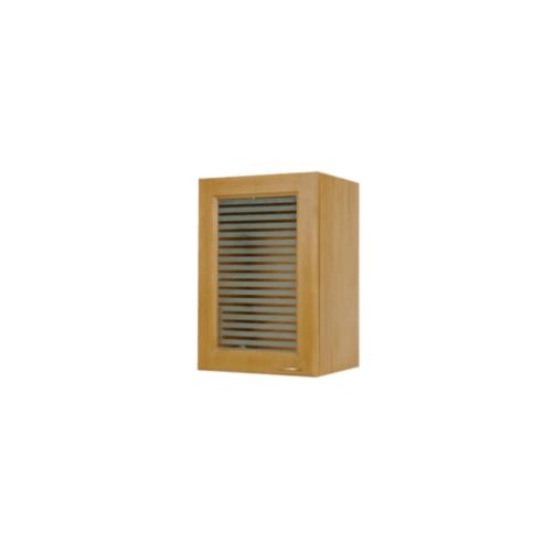 MJ ตู้แขวนเดี่ยวบานกระจกโค้งใส W804GCL-T สีสัก MJ  สัก