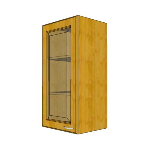 MJ ตู้แขวนบานกระจกตรงใส สีสัก W804GL-T