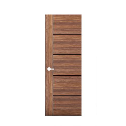 MJ ประตูปิดผิวเมลามีน เซาะร่องดำ ขนาด 80x200ซม. สีไม้สัก  M1-80/200-TW