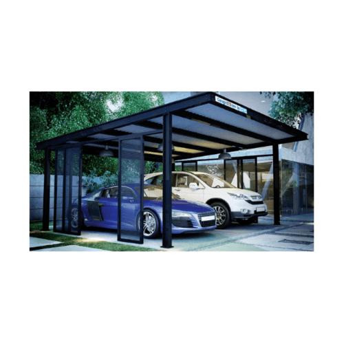 DURA โครงหลังคาโรงจอดรถ SYS แบบไม่มีผนัง สีดำ