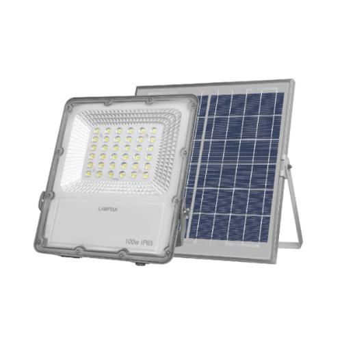 LAMPTAN โคมไฟแอลอีดี ฟลัดไลท์ โซลล่าเซลล์ 100 วัตต์ เเสงขาว SOLID IP65