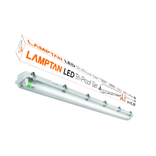 LAMPTAN ชุดเซ็ทโคม LED เดย์ไลท์กันนั้ำขั้วเขียว  TRI PROOF1X18W สีขาว